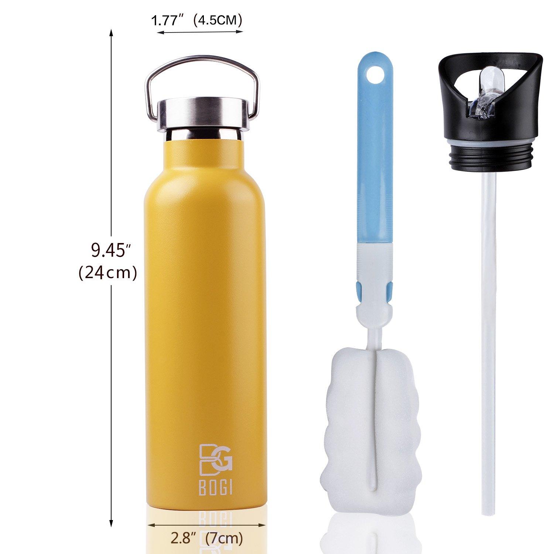 BOGI 600ml Botella de agua aislada al vacío de acero inoxidable,Eco Friendly & BPA gratis para correr, gimnasio,yoga,ciclismo,al aire libre y camping,coche ...