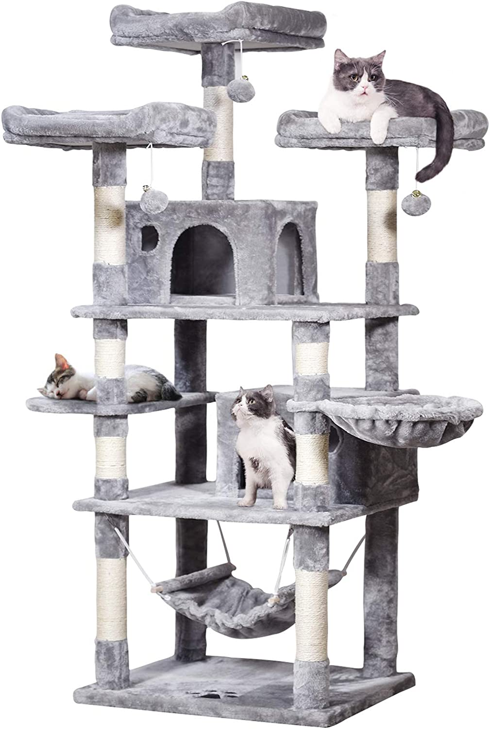 Mqforu Large Cat Tree Cat Tower With Sisal Scratching Posts Plush Perches Condos Hammock 170 Cm Cat Activity Centres Kittens Furniture Play House Light Grey Amazon Co Uk Pet Supplies