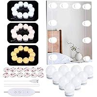 LED Vanity Spiegellampen, Hollywood Style USB Make-up Mirrior Strip Lights Kit met 10 dimbare LED-lampen, 3 kleuren modi…