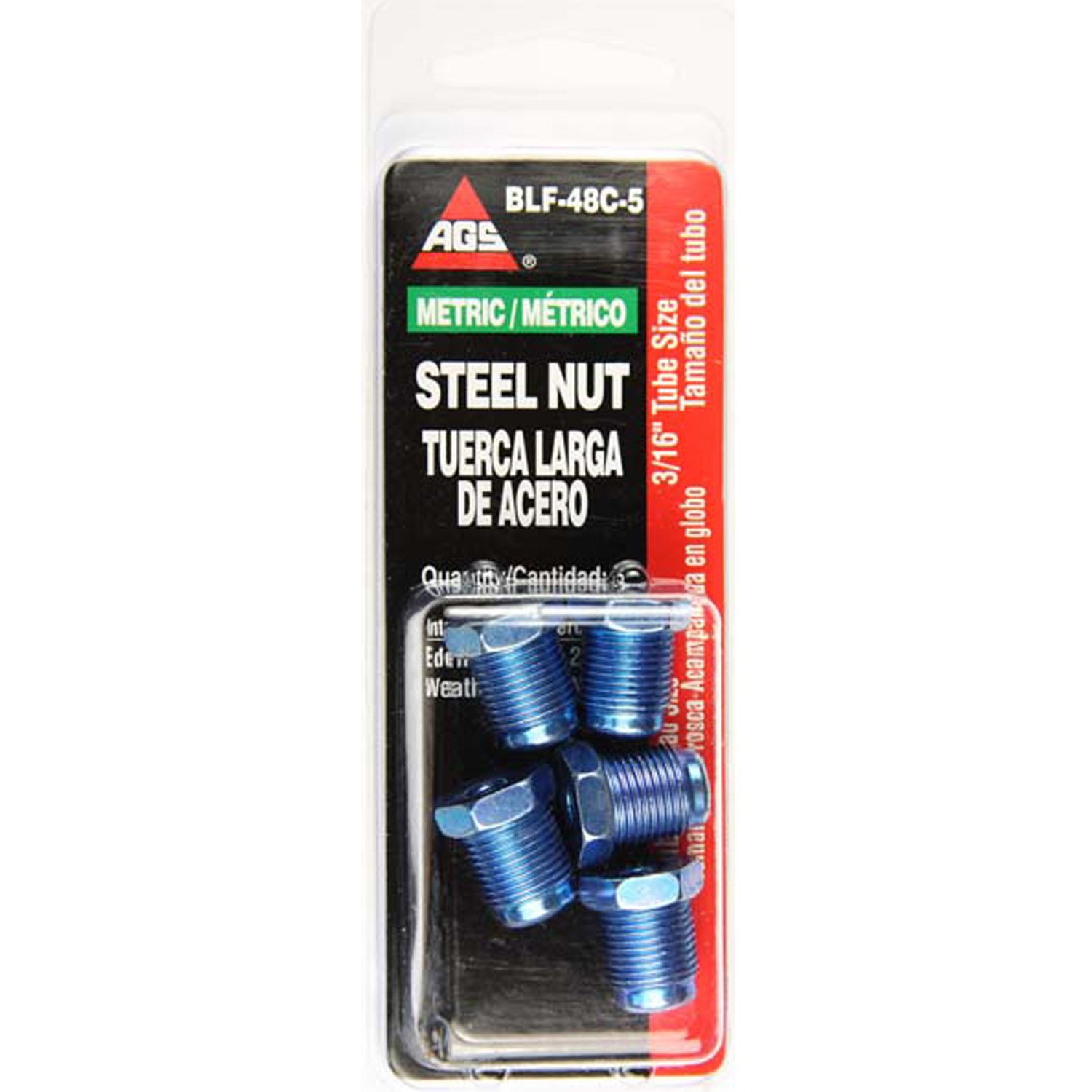 Steel Tube Nut, 3/16 (M12x1.0 Bubble), 5/card AGS BLF-48C-5