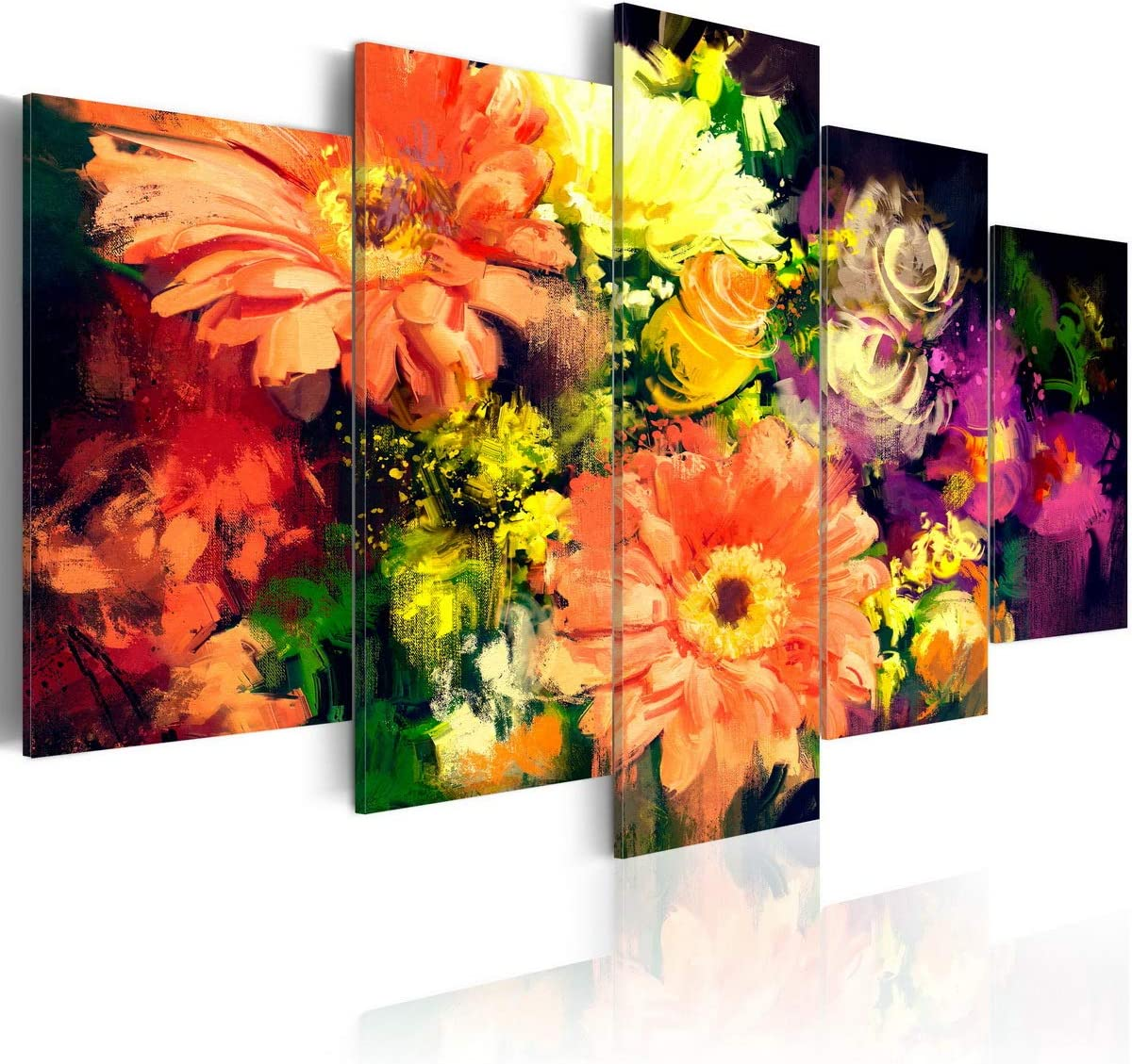 Colorful Flower Canvas Painting 5 Pieces Spring Collage Abstract Floral Wall Art Modern Print Artwork Picture Decor for Office Home Decoration