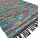 EYES OF INDIA - 3 X 5 Ft Blue Colorful Chindi Woven Rag Rug Bohemian Boho Decorative Indian