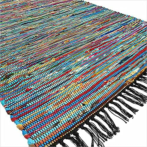 EYES OF INDIA - 3 X 5 ft Blue Colorful Chindi Woven Rag Rug Bohemian Boho Decorative Indian - Cotton Indian Rug