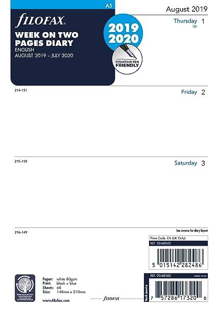 Filofax - Agenda semanal (tamaño A5, 20 de julio): Amazon.es ...