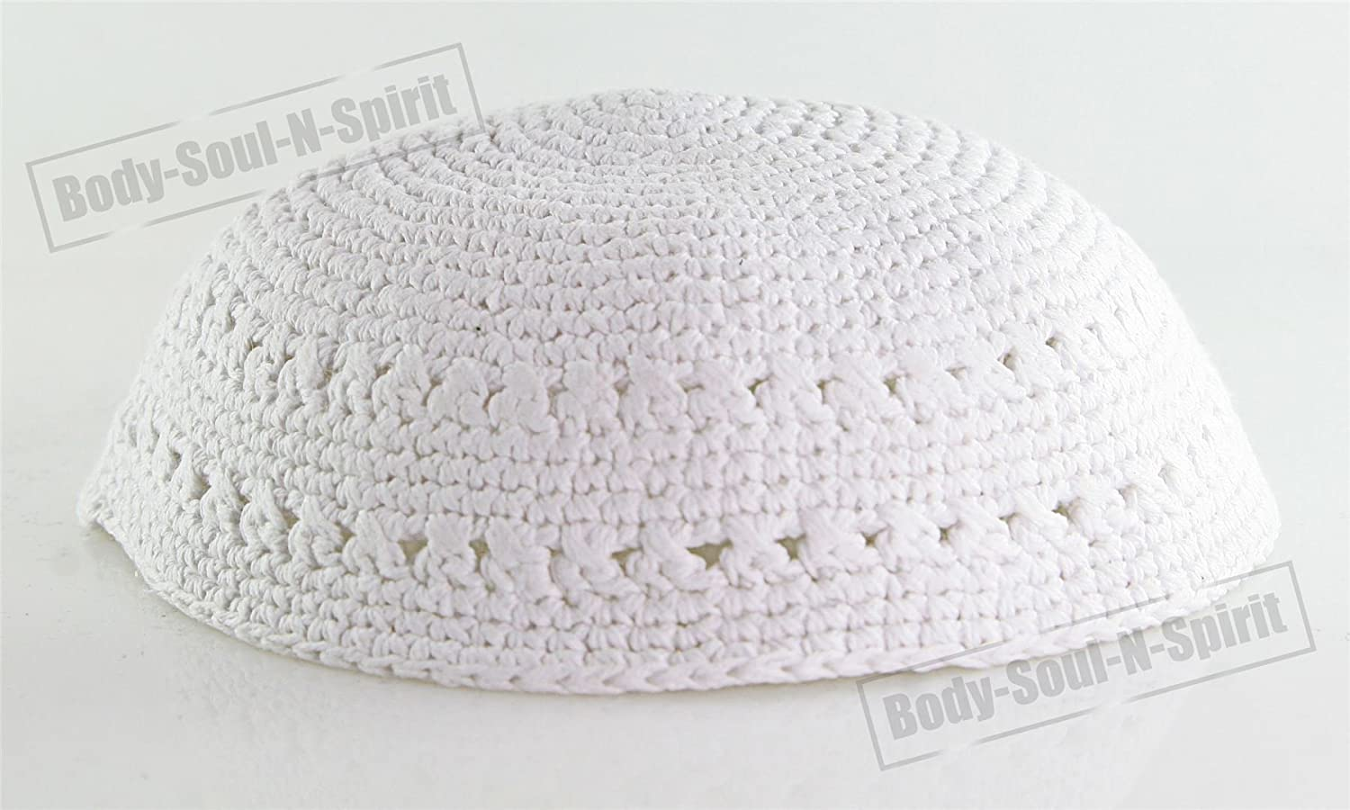 Amazon.com: White Knitted Kippah Yarmulke Tribal Jewish Yamaka Kippa ...