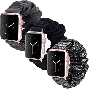 Scrunchie Watch Band Compatible with Apple Watch Bands 38mm 40mm 3 Pack, Soft Fashion Elastic Scrunchies Wristband Compatible for iWatch Series 6 5 4 3 2 1 (B3840)