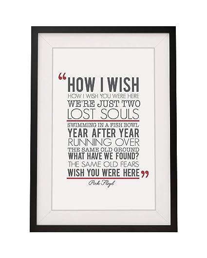 Pink Floyd wish You Were Here letras de canciones con marco A4 impresión y