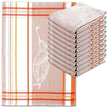 10er Pack Geschirrtuch orange weiß kariert 100/% Baumwolle 50x70 cm
