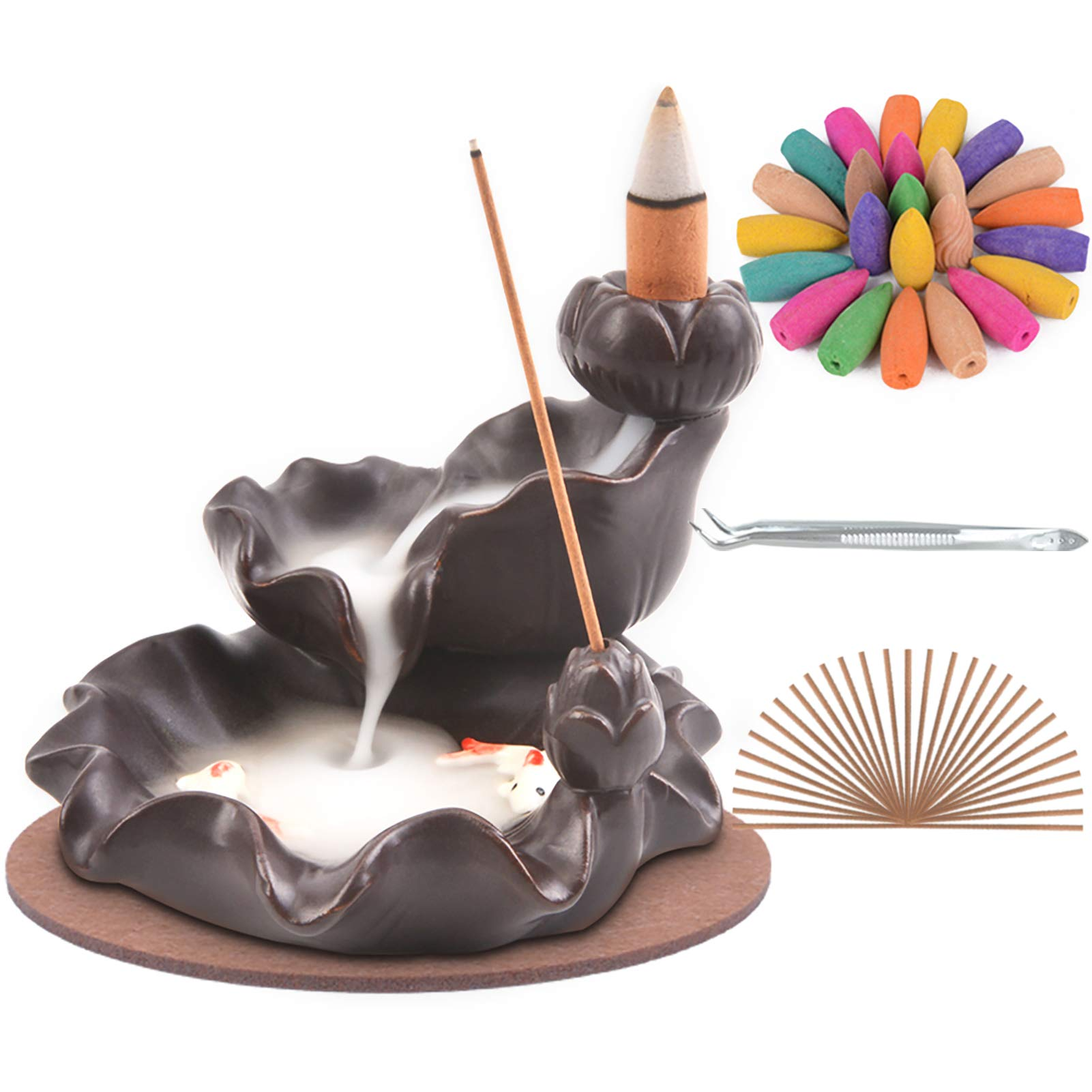 SPACEKEEPER Waterfall-Incense-Burner Ceramic Backflow Incense Holder Handcrafted Censer Inscent Stick Stand with