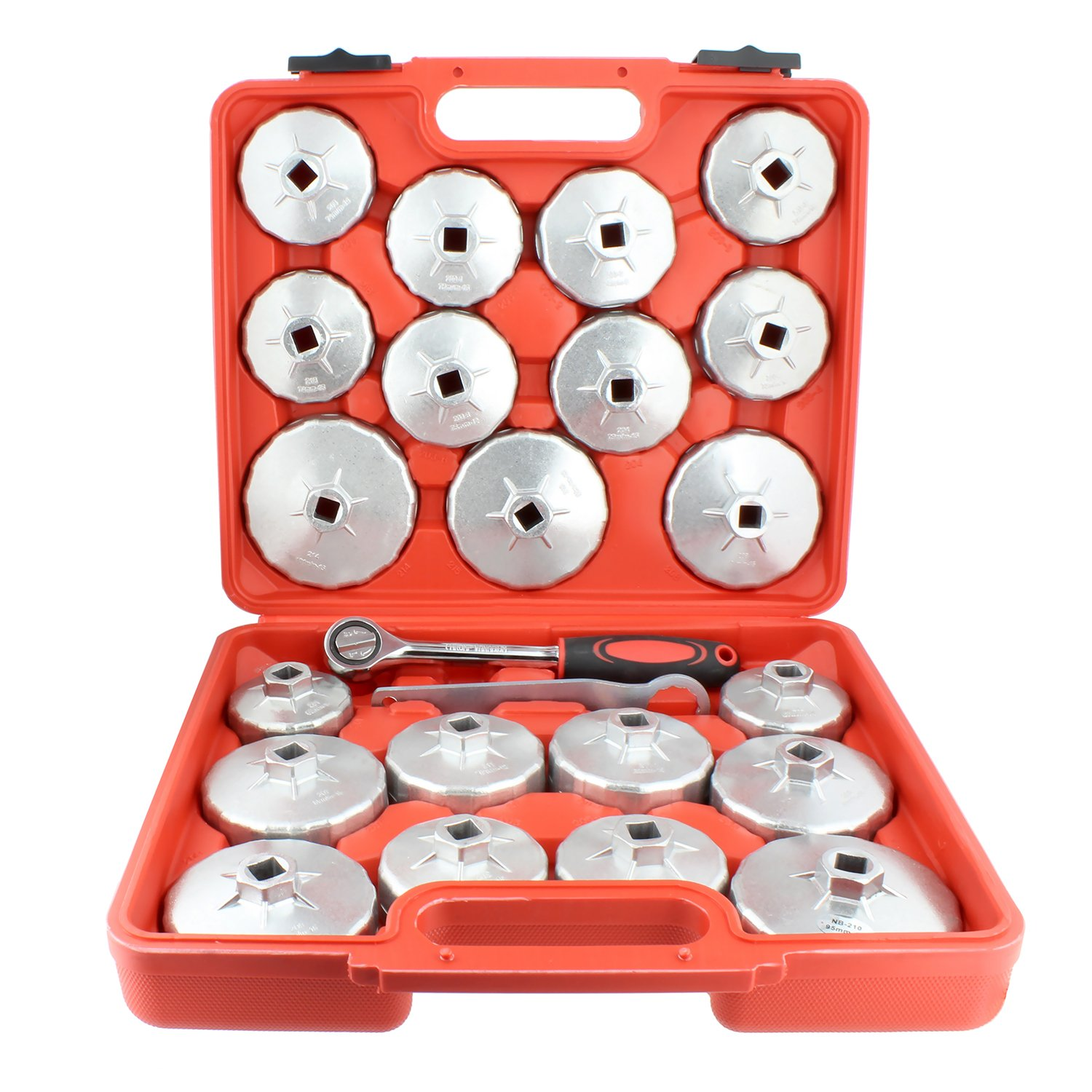 """ABN 23 Piece Oil Filter Cap and 1//2/"""" Inch Socket Wrench Removal Tool Set"""