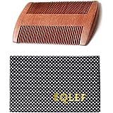 EQLEF® Barbe peigne en bois, Bois de santal rouge pas de peigne à la main statique à dents larges, bois de peigne à moustache