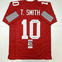 $124 » Autographed/Signed Troy Smith Heisman 06 Ohio State Red College Football Jersey JSA COA