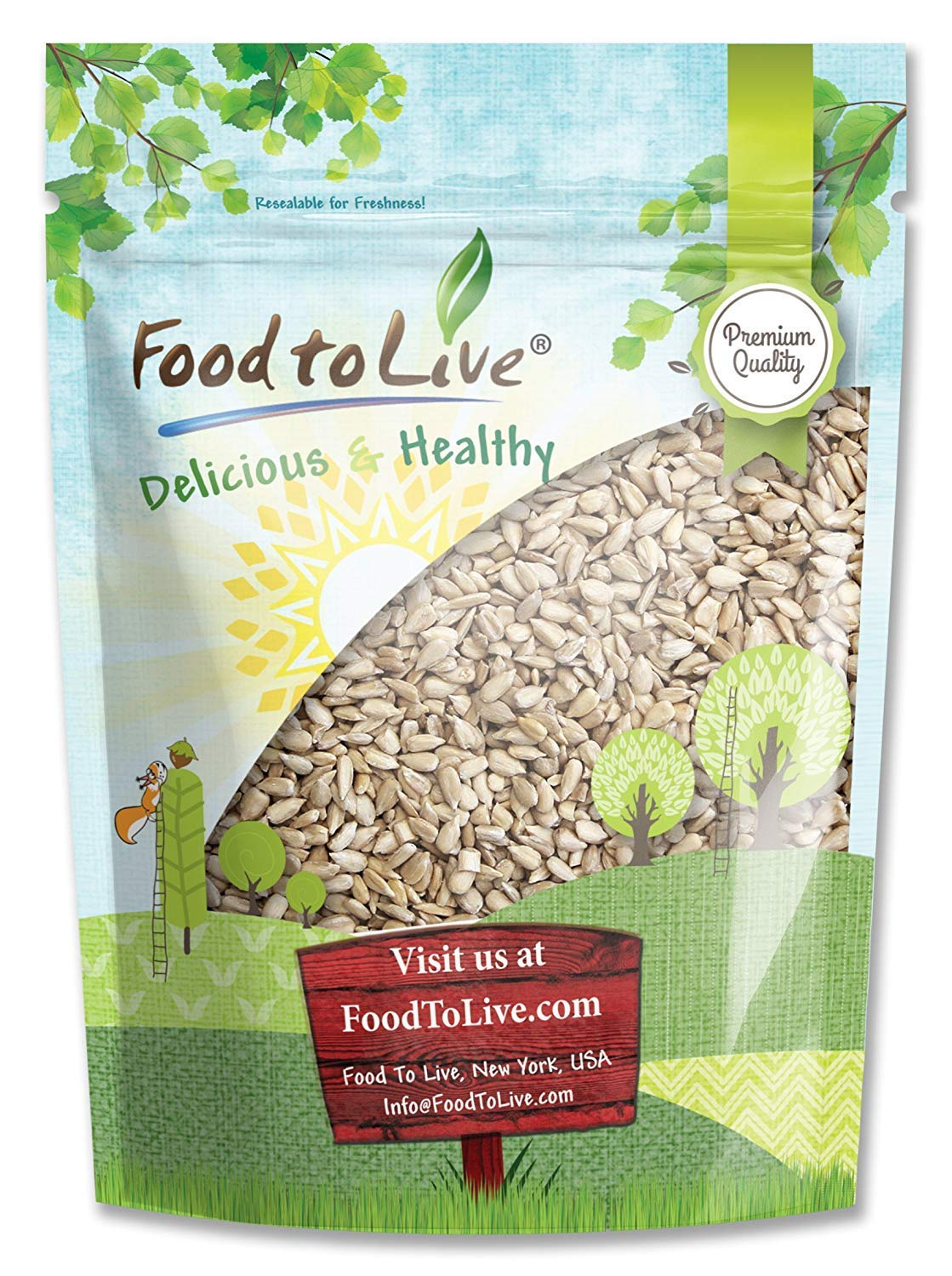 Sunflower Seeds by Food to Live (Raw, Kernels, Shelled, Kosher, Bulk) — 2 Pounds