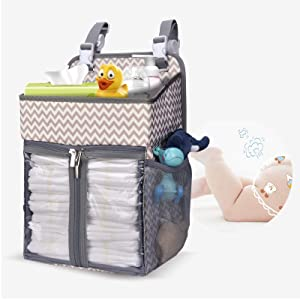 BAGLHER Hanging Diaper Organizer,Baby Diaper Organizer is Suitable for Hanging on Diaper Table,Nursery, and All Cribs.Baby Supplies Storage Diaper Rack,Diaper Stacker.