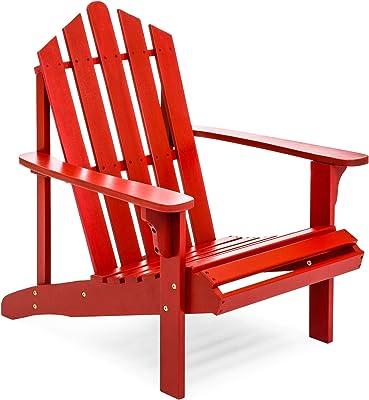 Red Outdoor Patio Acacia Wooden Adirondack Chair