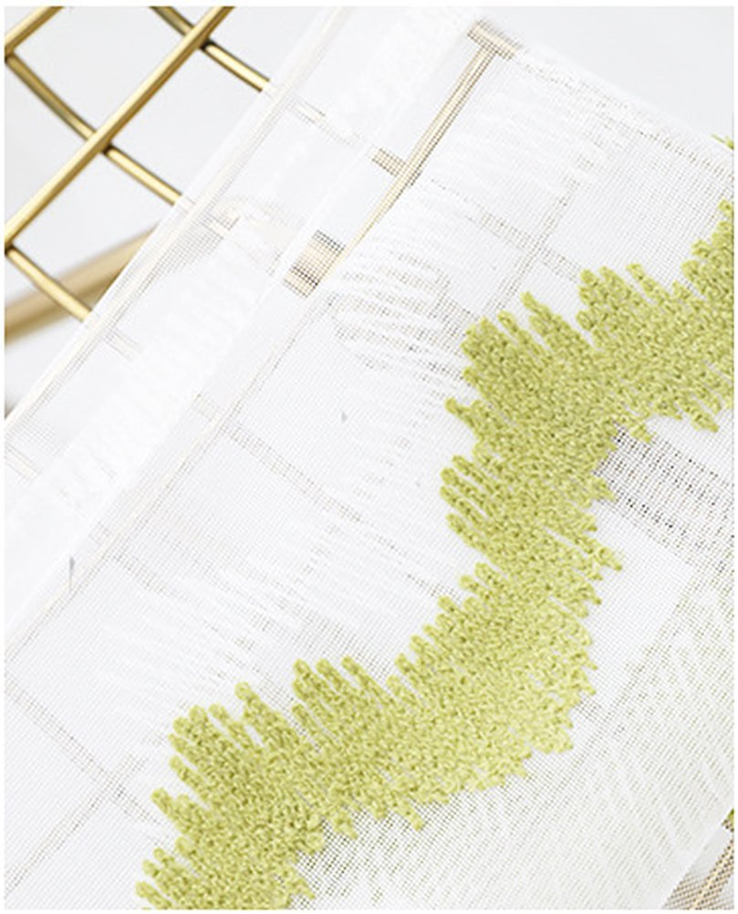 ASide BSide Grass Wave Embroidered Rod Pocket Top Lounge Style Breathable Window Decoration Sheer Curtains For Houseroom Kitchen and Sitting Room (1 Panel, W 52 x L 63 inch, White)