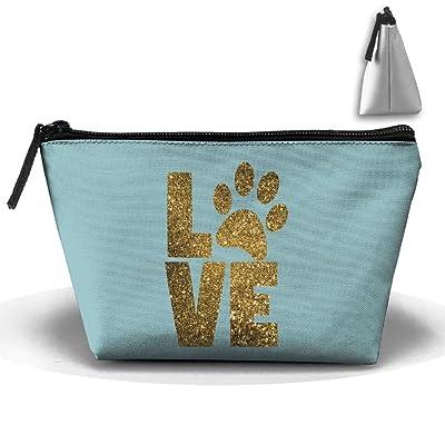 Unisex Stylish And Practical I Love Dog Golden Footprints Design Trapezoidal Storage Bags Handbags
