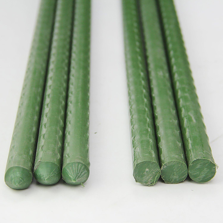 erozy 20 Pack 0.3-Inch Diameter Bulk Green Coated Metal Heavy-Duty Sturdy Plant Stakes 2-Feet