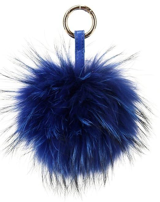vogueearth Vero Large Pelliccia Palla pompon Mobile Cinghia Portachiavi  Borsa Fascino Blu Reale  Amazon.it  Abbigliamento 3e19907f150b