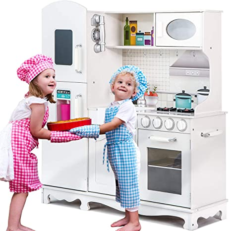 Merax Kids Play Kitchen Set, Pretend Kitchen Playset for Toddlers【Easy Bake  Oven】