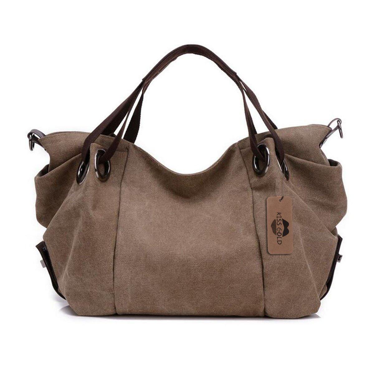 KISS GOLD(TM) Women's Canvas Hobo Top-handle Bag Crossbody Shoulder Bag, European Style, Large Size 16''X6.8''X12'', Coffee