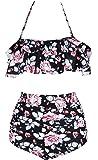 X-Fit Sports Women's Ruffle Flounce Top Print High Waist Bottom Bikini Swimsuits