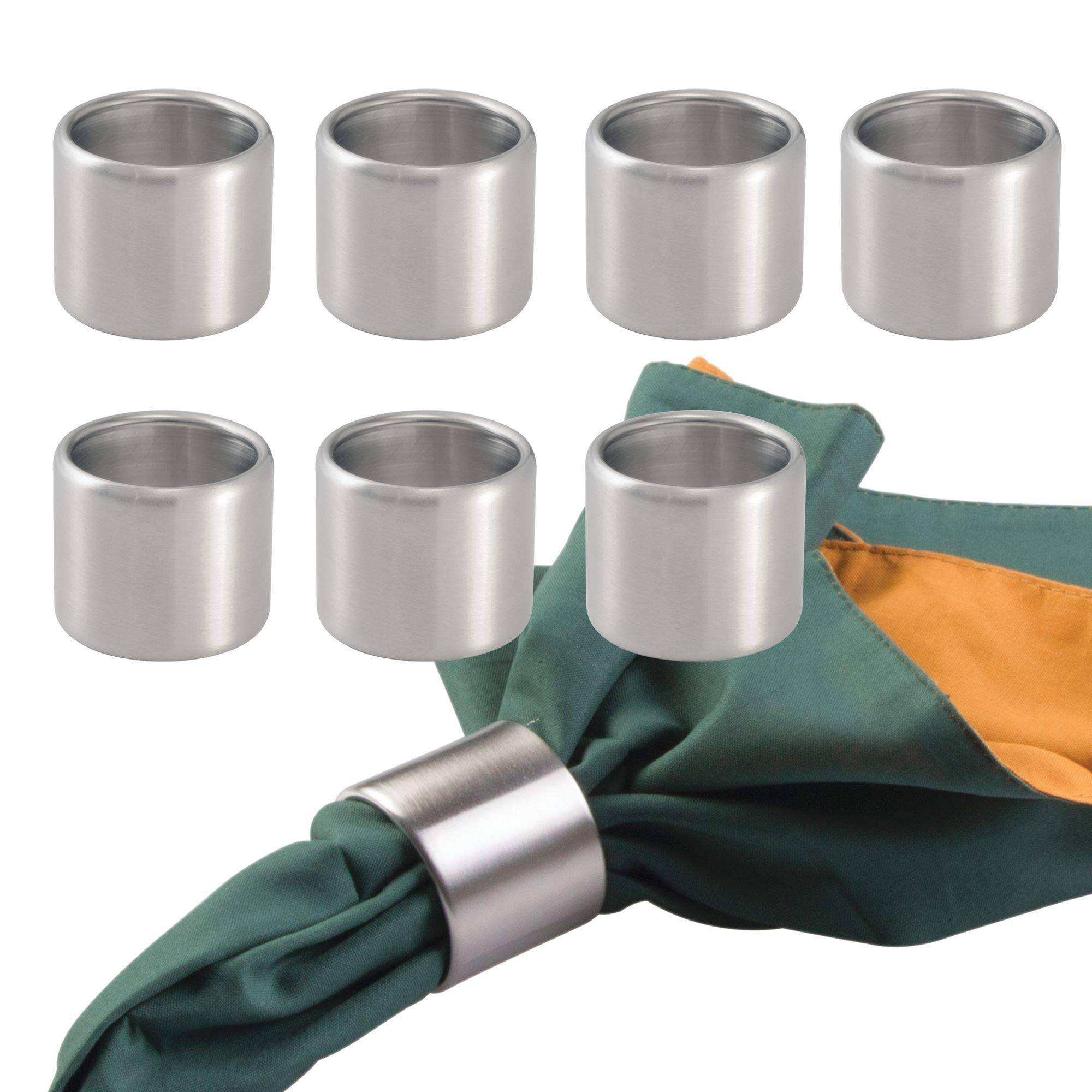 mDesign Napkin Rings for Home, Kitchen, Dining Room - Pack of 8, Brushed Stainless Steel