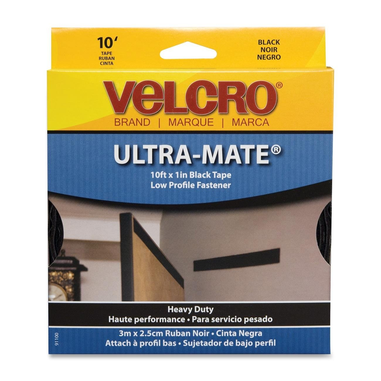 VELCRO USA Inc : Ultra Mate Tape, Water-Resistent, 1''x10', Black -:- Sold as 2 Packs of - 1 - / - Total of 2 Each by Velcro USA
