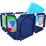 PAMASE Blue Pool Toy Storage Bin- 32.4 x 32.8 x 16.5-inch Pool Storage Bins Made with Oxford Cloths and Nylon Mesh for Ocean