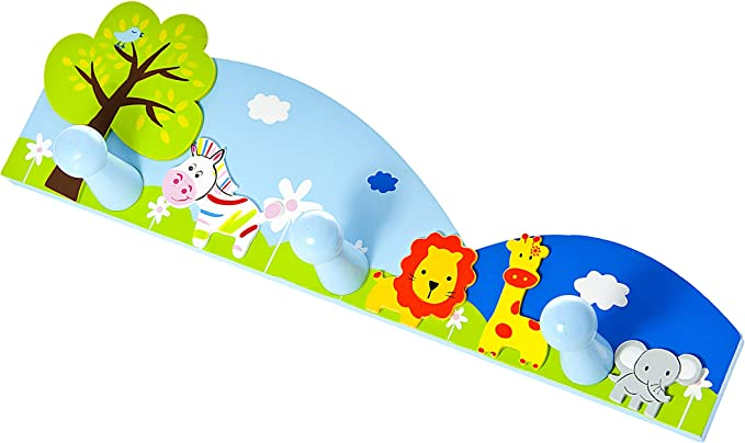Yinitoo Childrens Coat Rack with 4 Hooks Wall Coat Hooks Childrens Furniture Coat Hooks Forest Animals Young Girls Small Animals