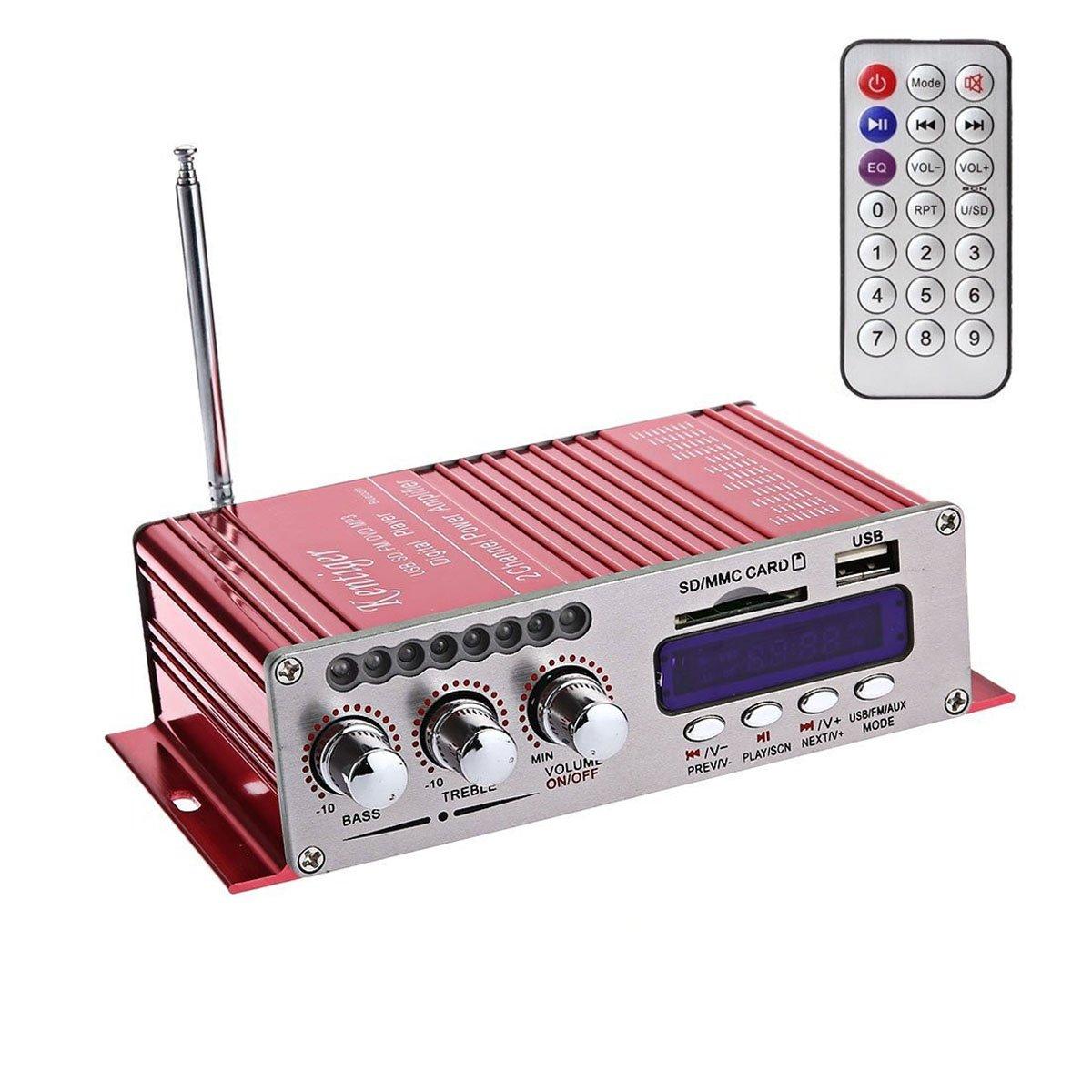 WINGONEER 12V Hi-Fi Stereo amplificador de audio digital de DVD USB SD FM estéreo audio MP3 de radio del coche del altavoz de Bluetooth Amplificador: ...