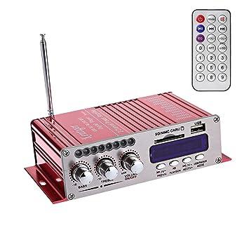 WINGONEER 12V Hi-Fi Stereo amplificador de audio digital de DVD USB SD FM estéreo