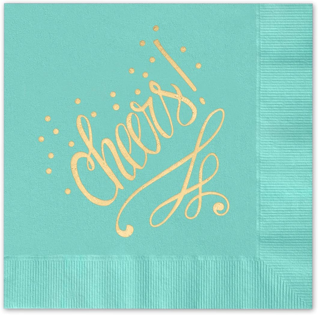 Canopy Street Cheers to You! Beverage Cocktail Napkins - Set of 25 aqua paper napkins with gold foil