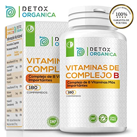 Detox Organica Vitamina B Complex 180 Comprimidos | Complejo Vitamina B con 8 Vitaminas del Grupo B - Suministro para 6 Meses