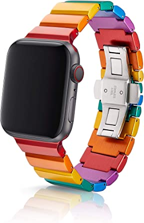 38/40mm JUUK Rainbow Ligero Premium Watch Band Made for The Apple Watch, Using Aircraft Grade, Hard Anodized 6000 Series Aluminum with a Solid ...