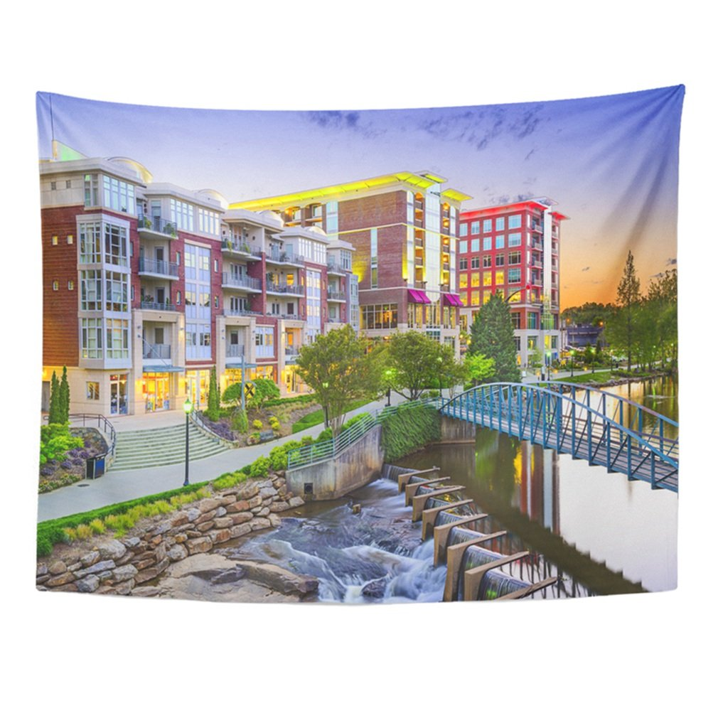 Emvency Tapestry Mandala 50''x60'' Home Decor Skyline Greenville South Carolina Town Cityscape Usa Downtown America Buildings City Tapestries Bedroom Living Room Dorm