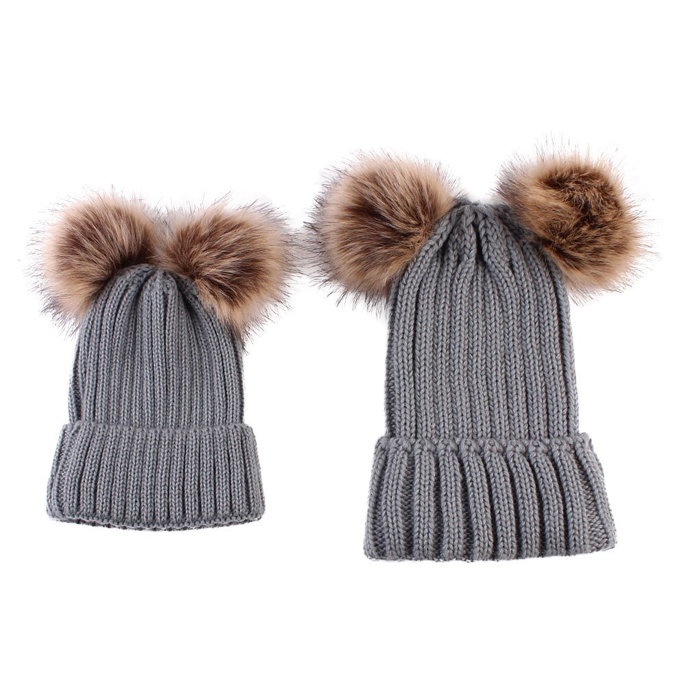 Kehen 2PCS Parent-Child Pom Pom Knit Hat Mom /& Baby Winter Keep Warm Cap Matching Outfits