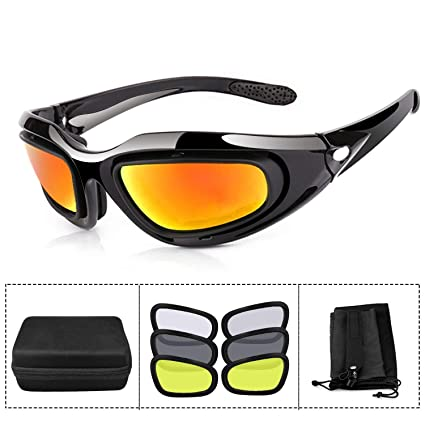 ae0f384350 ActionEliters Tactical Eyewear Eyeshield Polarized UV400 Protective Shooting  Safety Glasses Kit w  3 Lenses for