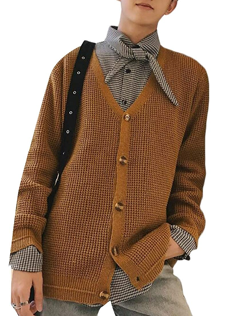 Generic Mens Loose Solid Knit Button up Cardigan Sweater