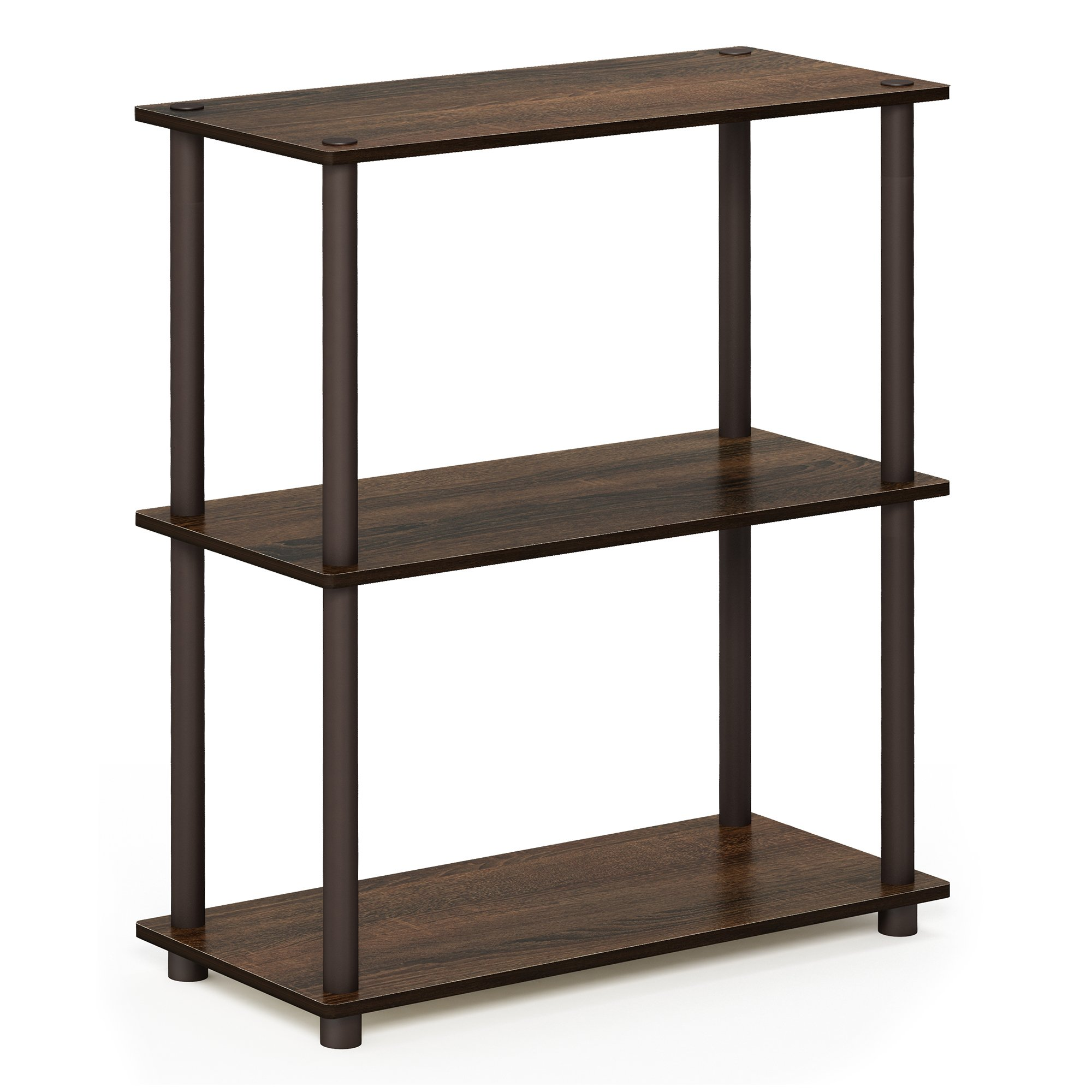Furinno 10024WN/BR Turn-N-Tube 3 Compact Multipurpose Shelf, 3-Tier, Walnut/Brown
