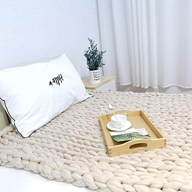 Chunky Knit Blanket Super Soft Handmade Bulky Knit ThrowBlanket, Wool Chunky Blanket for Bedroom Sofa Decor Super Large Bed Blanket(Beige,47 x71 )