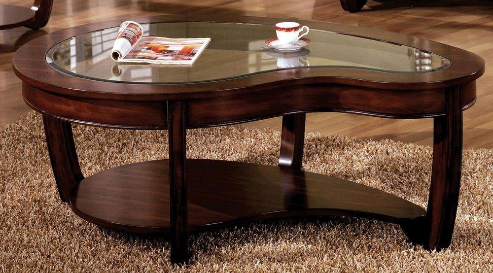 Furniture of America CM4336C Crystal Falls Dark Cherry Coffee Tables