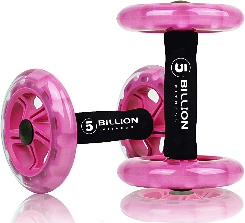 5BILLION AB Wheel Roller & Rueda Abdominal - Double AB Wheel - Entrenamiento para Abs, Espalda, Brazos, Hombros, Torso, Caderas - Libre Cojín del ...