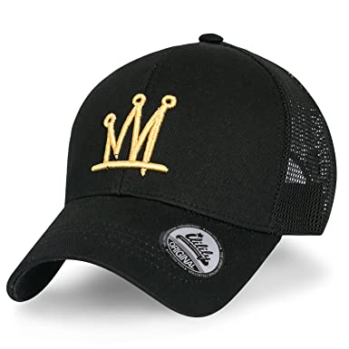 ililily Crown Logo Embroidery Solid Cotton Twill Mesh Baseball Cap Dad Hat cffe8df5d63