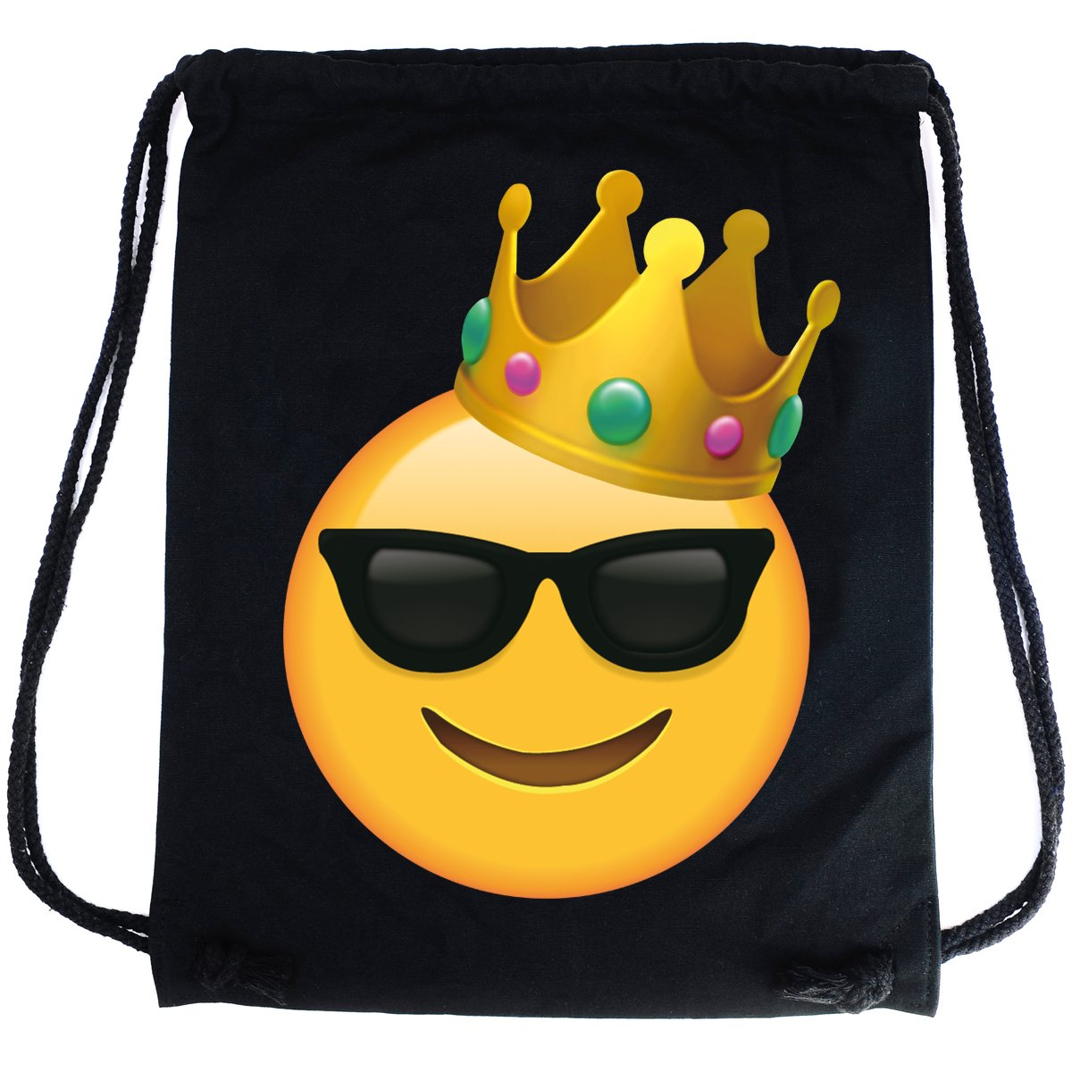 8aceb05d67a0 PREMYO Cotton Drawstring Bag with Smiley Face Sunglasses King Emoji Print  Drawstring Backpack in Black Canvas Gym Bag. On The Go Sackpack Rucksack  for ...