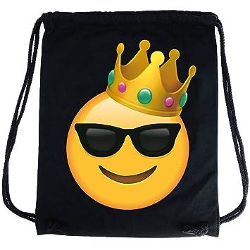 69bf48e2c770b2 PREMYO Cotton Drawstring Bag with Smiley Face Sunglasses King Emoji Print  Drawstring Backpack in Black Canvas