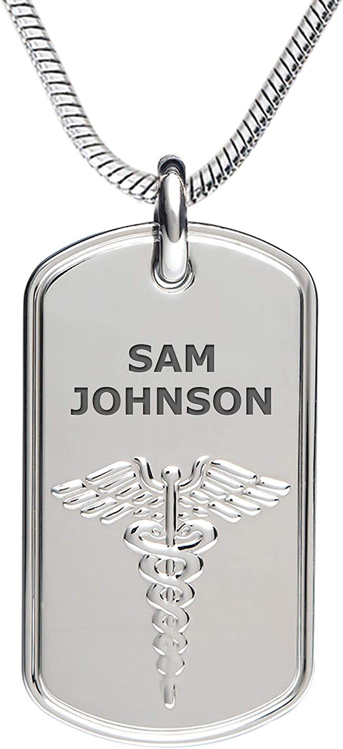 """Divoti Deep Custom Laser Engraved Stainless Steel Medical Alert Necklace for Men, Classic Tag Medical ID Necklace, Medical Dog Tag w/Free Engraving - 24/28"""" Various Chain -Color Options"""