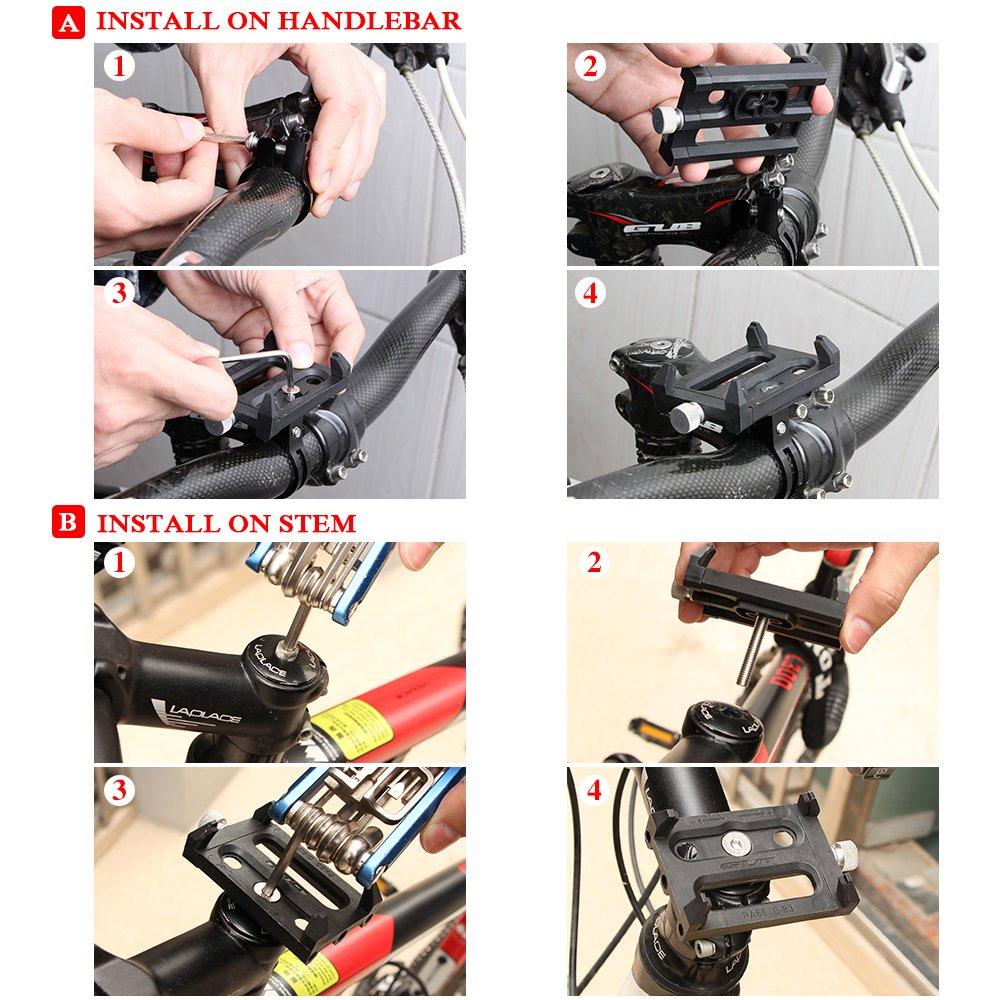 Comprar Lixada Antideslizante Bicicleta Soporte de Teléfono Ajustable Soporte de Montaje para 3.6-6.2 Inch Teléfono Móvil Inteligente