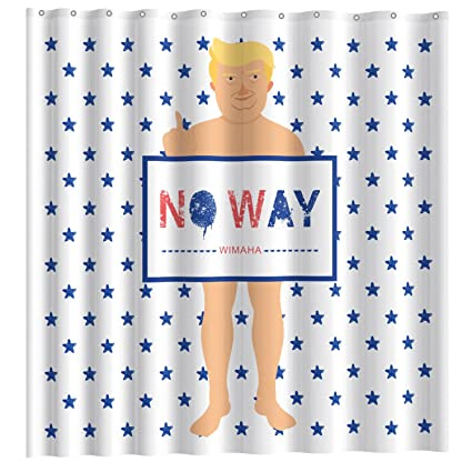 Wimaha Original Funny Shower Curtain Fabric Mischievous Donald John Trump American Flag 72