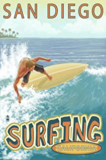 product image for San Diego, California - Surfer Tropical (24x36 Giclee Gallery Print, Wall Decor Travel Poster)